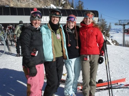 Darla, second from left, skiing with friends at Jackson Hole Mountain Resort